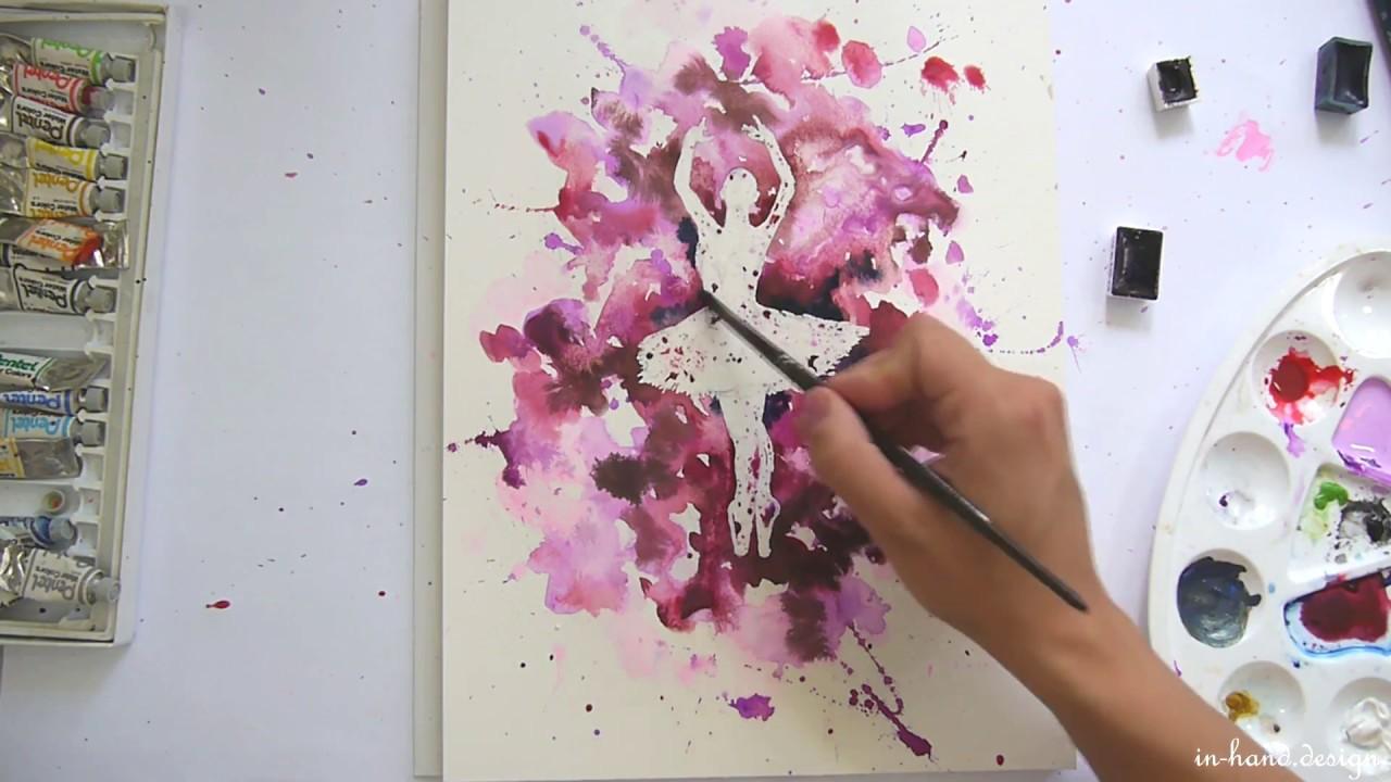 speed up ballerina in aquarell ein effektvolles bild schnell und einfach malen youtube