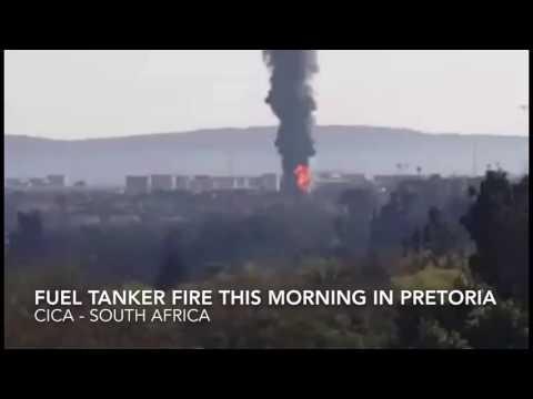 Fuel tanker explosion & fire today outside the petrol depot in Waltloo Pretoria Gauteng South Africa