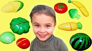 Learn names of fruits and vegetables with toy cutting fruit and vegetable Cooking Playset