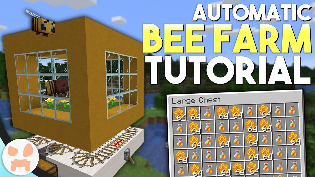 Minecraft AUTOMATIC BEE FARM Tutorial Honey   Honeycomb Farm