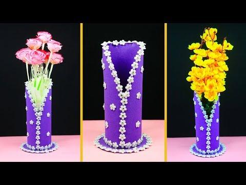 How To Make a Flower Vase at Home | DIY flower vase | handmade flower pot