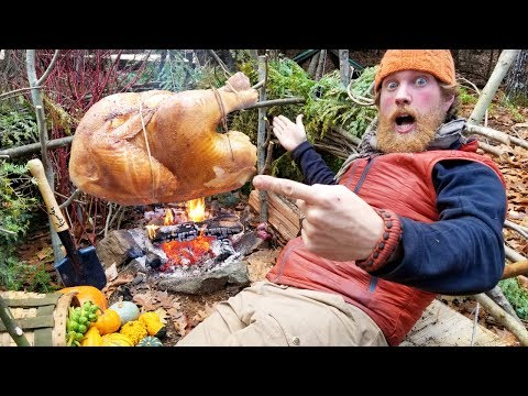 Turkey Cooked Over Wood Fire Smoked and Roasted In The Bush (87 days episode 15)
