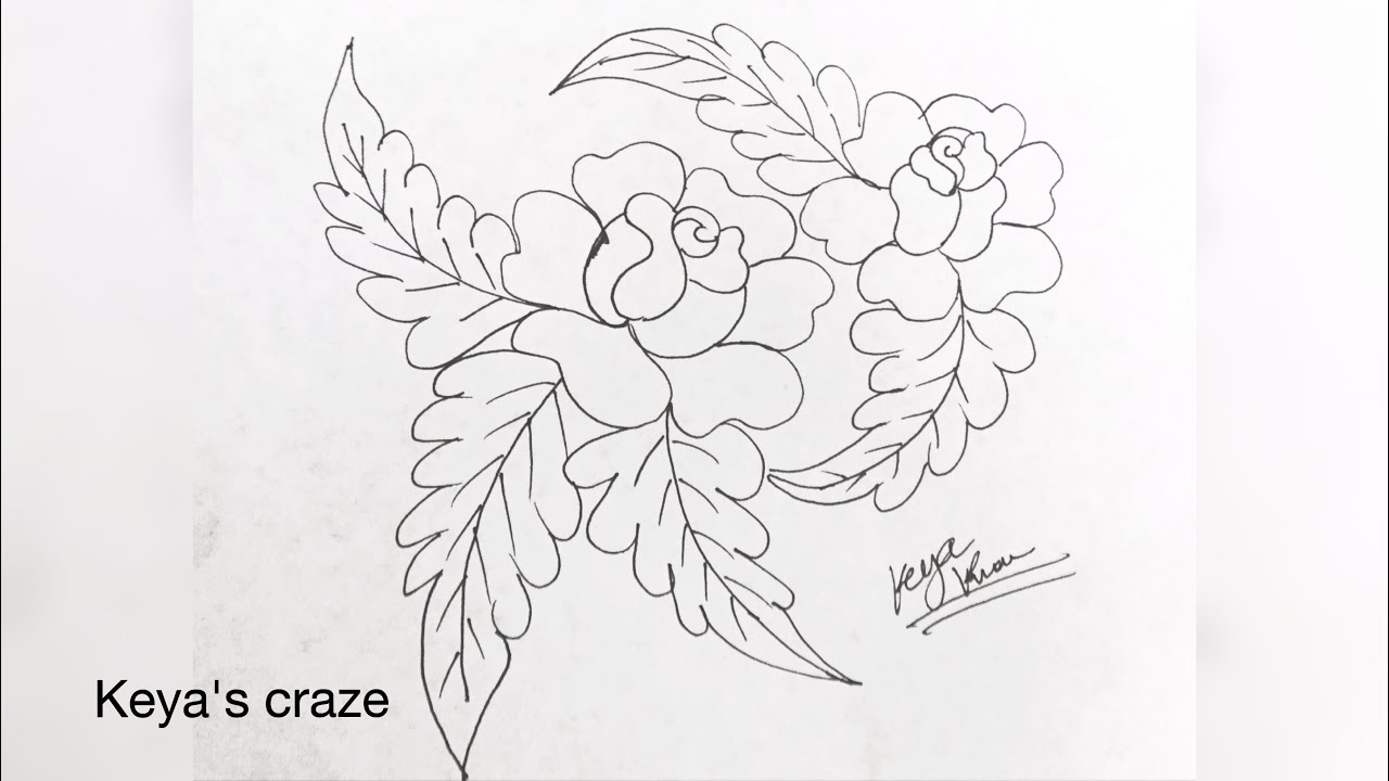 Handembroidery embroiderydrawngs rosedrawing