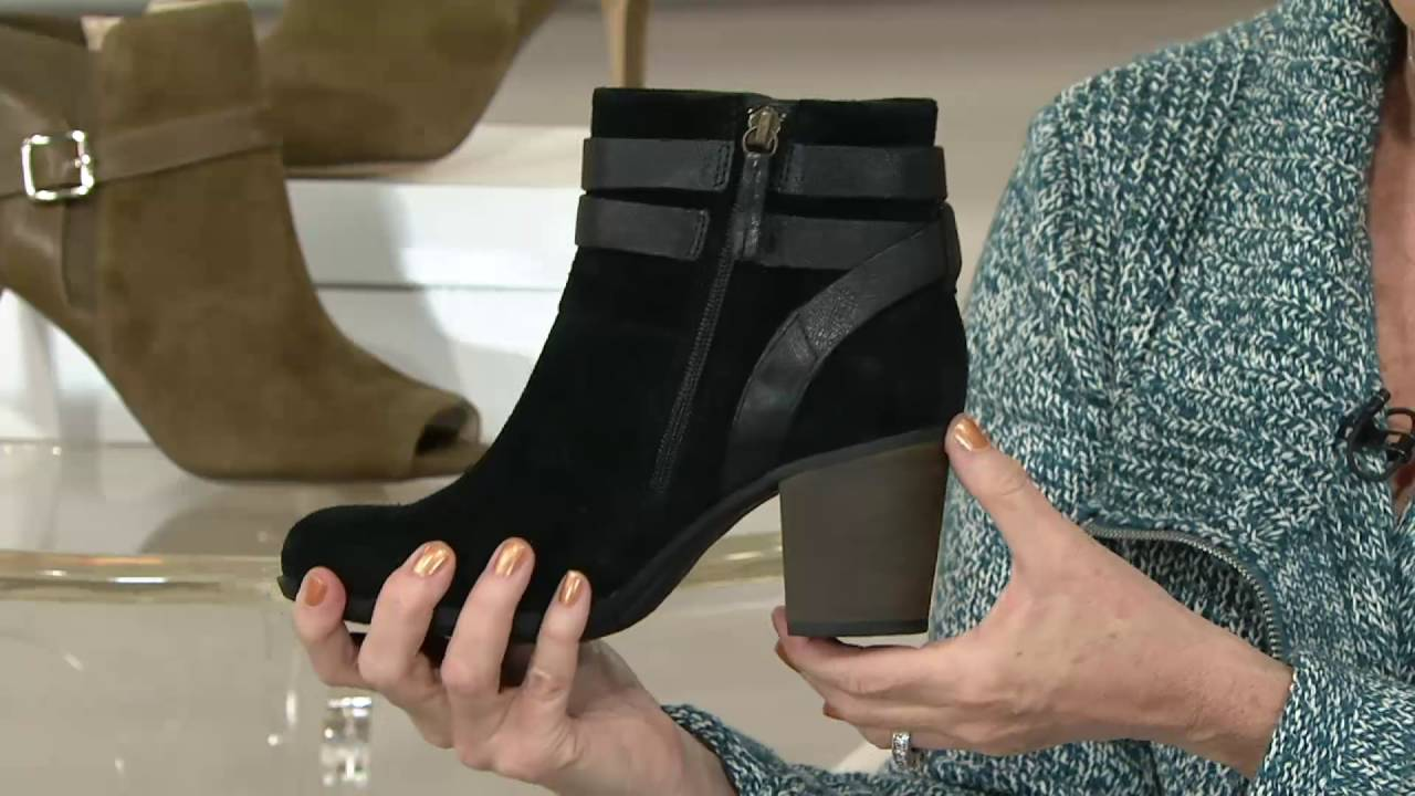 ad2ccac9e95 Clarks Suede Side Zip Ankle Boots - Enfield River on QVC