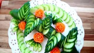 Карвинг огурца. Украшения из огурца и помидора. Decoration of vegetables.