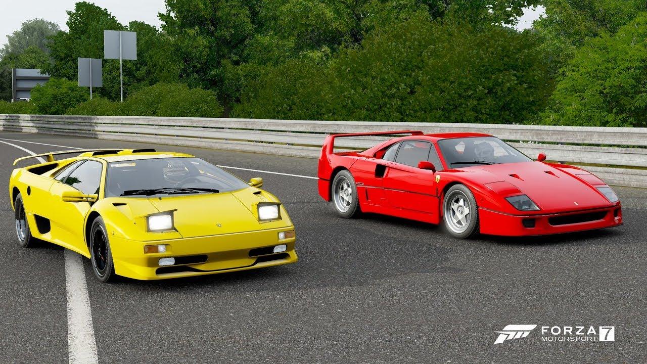 Forza 7 Drag race Lamborghini Diablo SV vs Ferrari F40