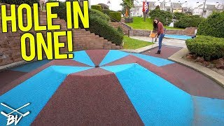 TRIPLE MINI GOLF HOLE IN ONE AND CRAZY SHOTS AT GOLFLAND MINI GOLF!