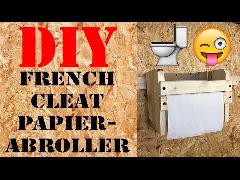 ordnung in der werkstatt diy french cleat papierabroller halter aus paletten selber machen deutsch. Black Bedroom Furniture Sets. Home Design Ideas