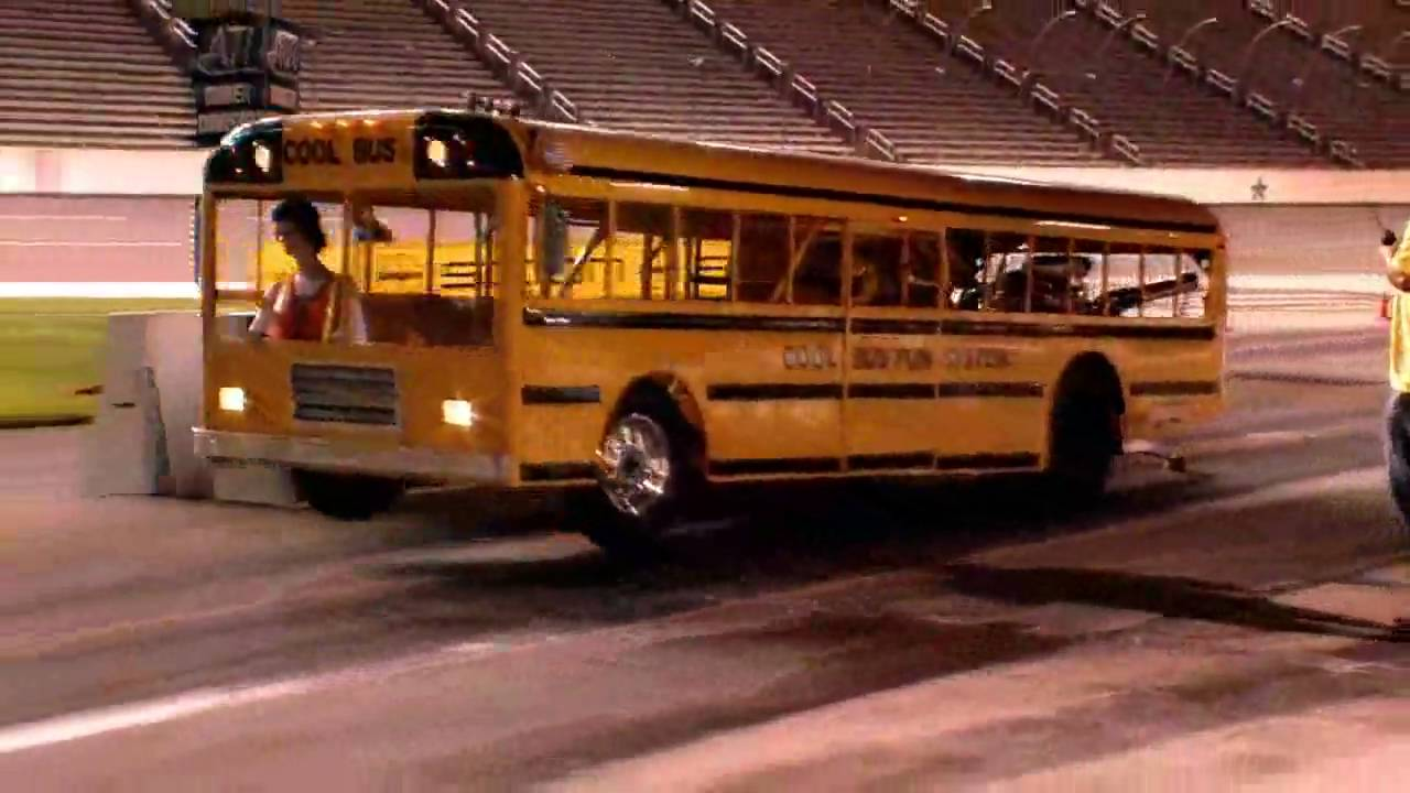 School bus does wheelie at texas motor speedway youtube for Texas motor speedway drag racing