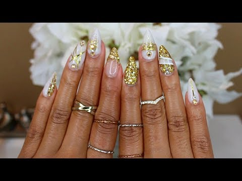 White & Gold Glitter Sculpted Acrylic Nails At Home