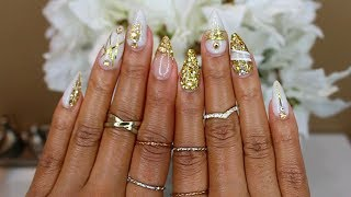 White & Gold Glitter Sculpted Acrylic Nails At Home!
