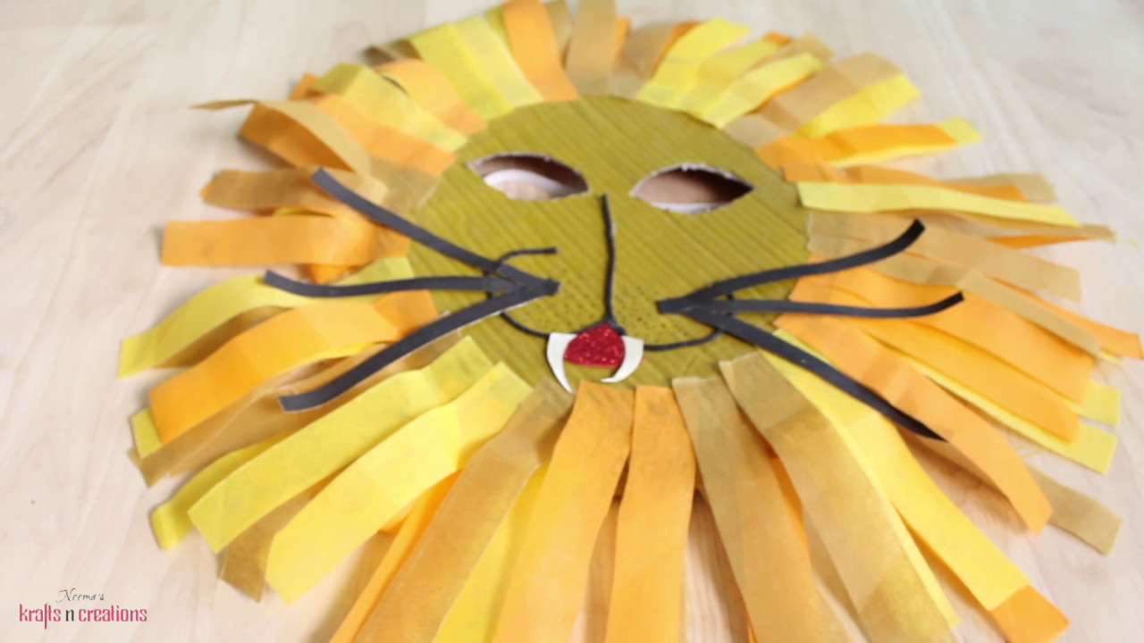 Lion Mask for Kids from a Paper Plate - DIY Krafts n Creations & Lion Mask for Kids from a Paper Plate - DIY Krafts n Creations - YouTube