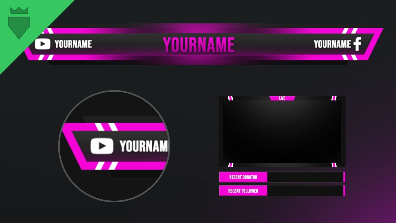 Twitch Overlay | FREE download PSD template | Speed Art | Pink Player |  www WDFLAT com