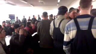 Вот как стоят в очереди в столовую рабочие которые приехали работать на вахту.