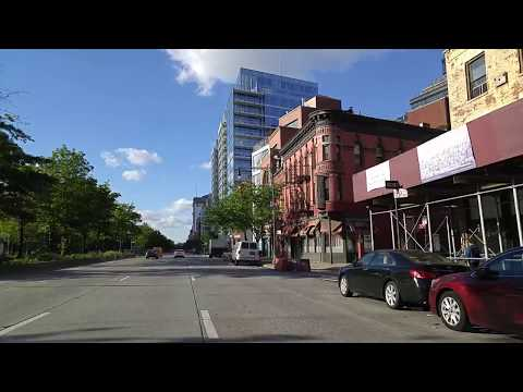 Driving by Greenwich Village in Manhattan,New York