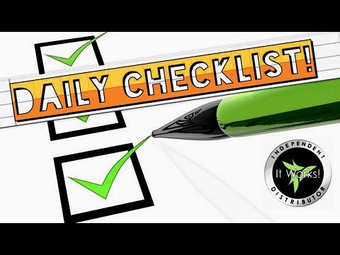 Daily Checklist for Distributors It Works Global