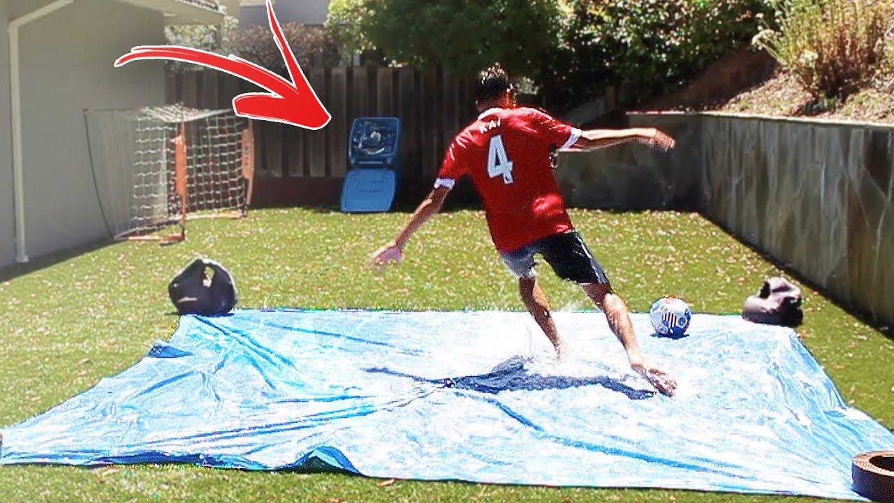 backyard slip n slide football soccer binshot challenge youtube