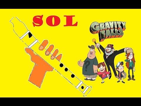 Gravity falls, versión fácil para flauta dulce+pista+guía. Animación. Tutorial.
