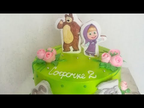 Торт с пряничными  топперами Маша и медведь