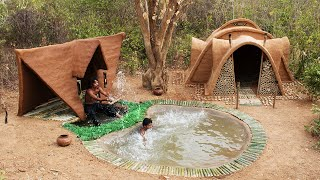 Building The Most Beautiful 2 Villa Mud House On The Underground Swimming Pool   Update Full