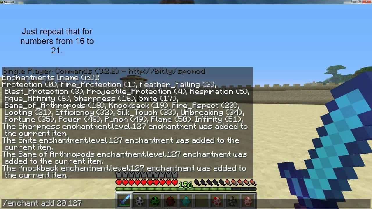 Maximum Enchanted Diamond Sword In Minecraft 1 2 5 Single Player Commands Tutorial Mp4 Youtube