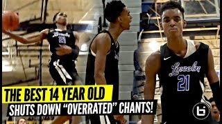 "14 Year Old Emoni Bates DOMINATING vs Varsity Basketball | Shuts Down ""OVERRATED"" Chants!!"