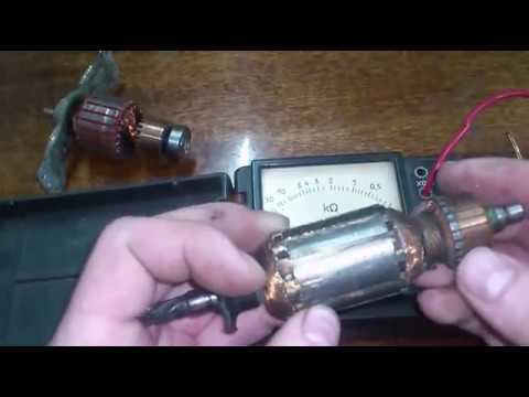 Как проверить якорь стрелочным омметром.  How to check the anchor pointer ohmmeter.
