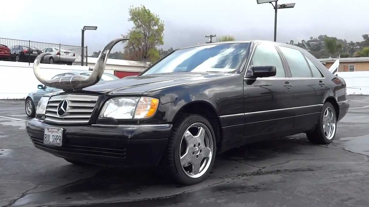 Mercedes Benz W140 Air Bagged AMG 18's W/ Steer or Bull Horns & Peterbilt Stacks - YouTube