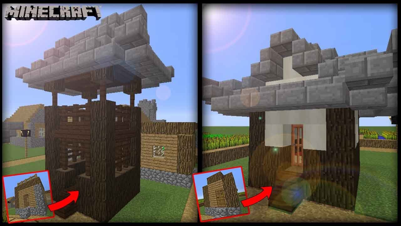 Minecraft - Transform A Village Hut & Small House! Japanese Style ...