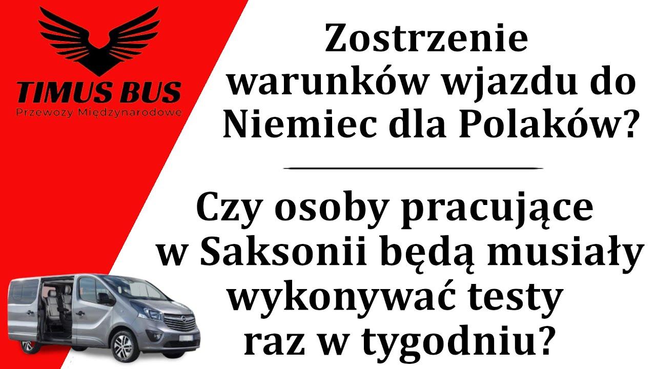 Zaostrzone warunki wjazdu do Meklemburgii? Cotygodniowe testy dla pracowników w Saksonii?  Timus Bus