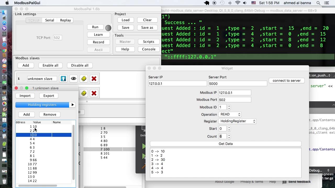 modbus tcp server client qt5