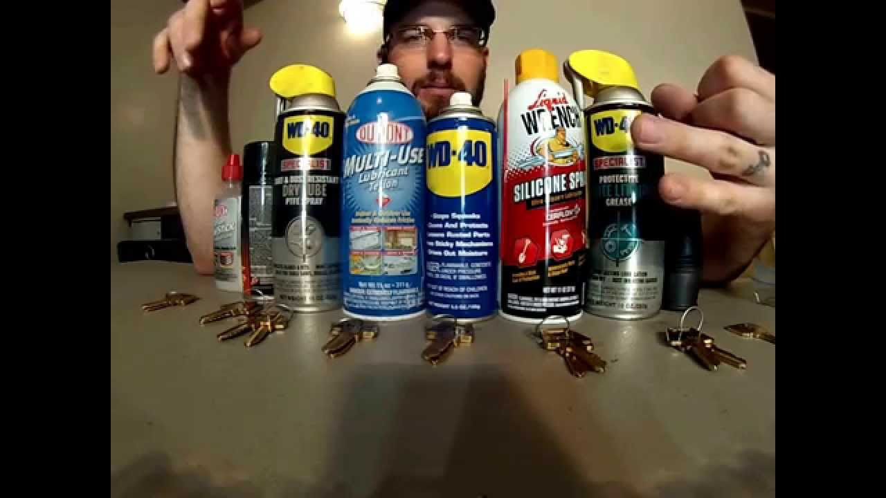 Silicone Spray Lubricant >> What Is Best Lubricant For Locks WD-40 Graphite Teflon Silicone PTFE Spray Tri-FLow - YouTube