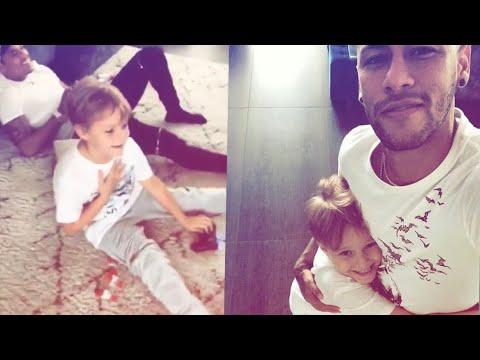 Neymar dando susto no filho Davi Lucca