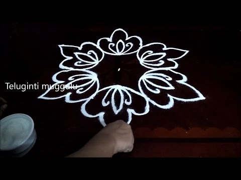 Simple Flowers kolam designs with 5-3 middle | chukkala muggulu with dots| rangoli design
