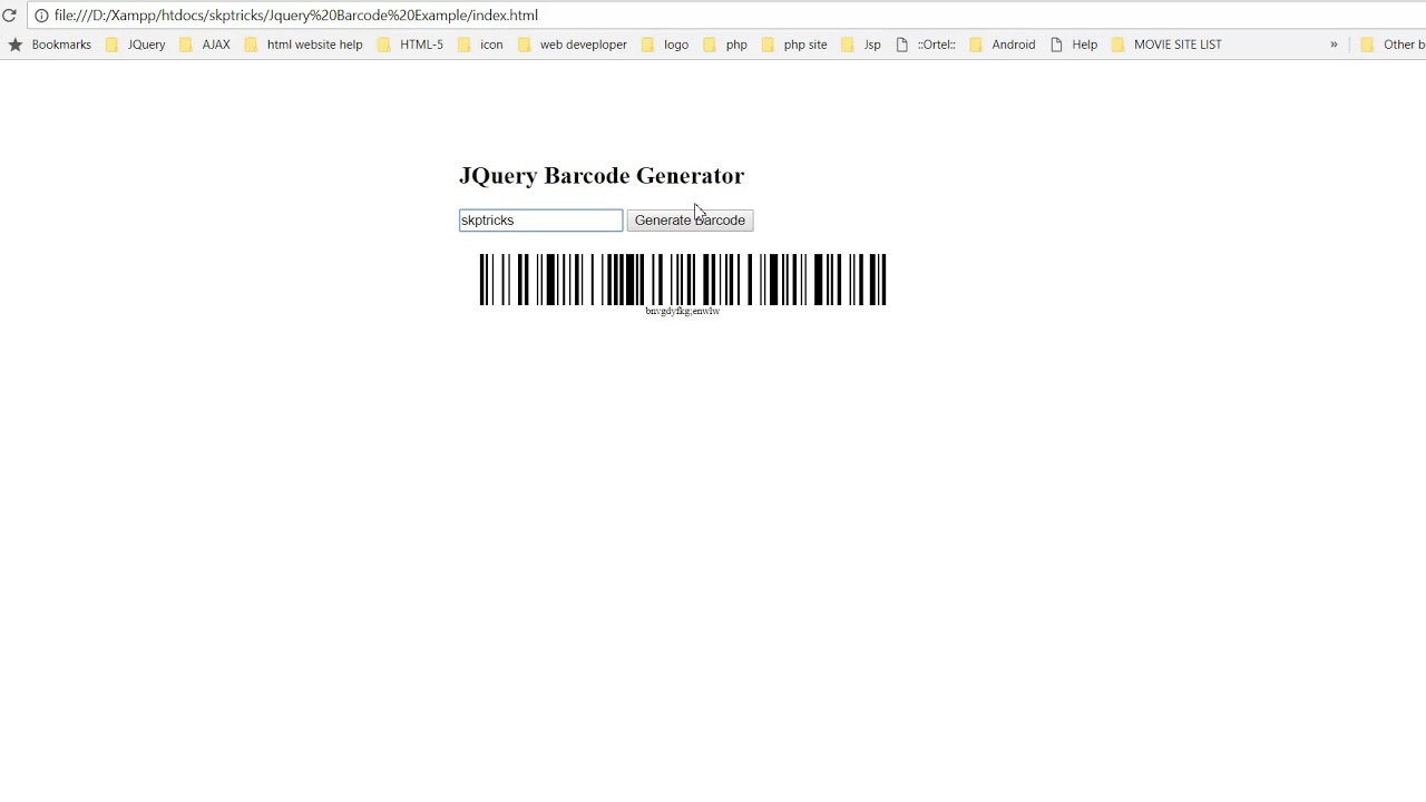 Simple jQuery Based Barcode Generator - Barcode
