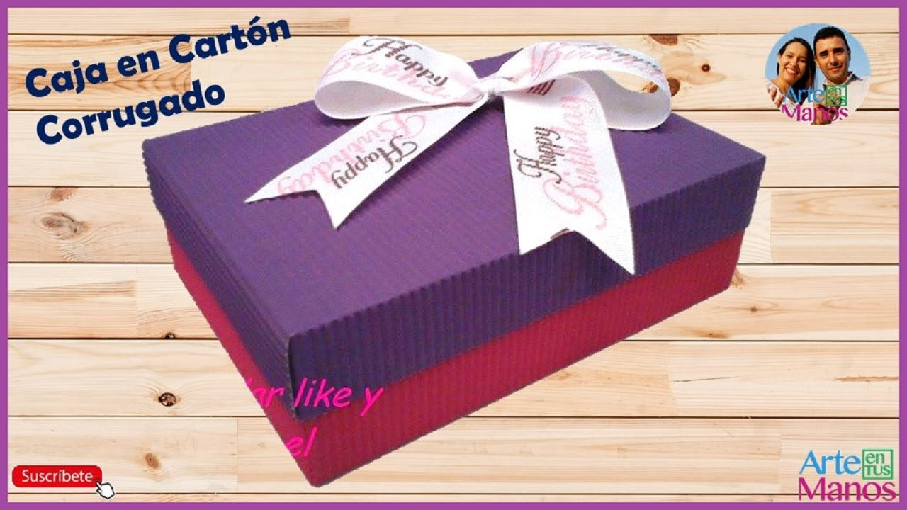 Caja rectangular en cart n corrugado para obsequio youtube for Cajas de regalo de carton