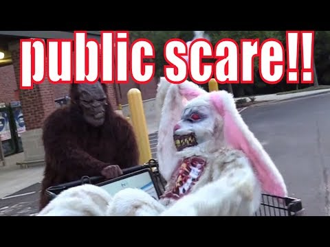 BIGFOOT ON THE CHASE w/ CREEPY BUNNY in PUBLIC!! FINDING LITTLE JADE!!