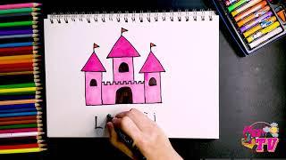 Hướng Dẫn Vẽ Lâu Đài Đơn Giản   How To Draw A Castle   Hướng Dẫn Tô Màu Lâu Đài Công Chúa