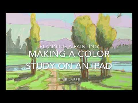 Time lapse of digital color study for landscape painting