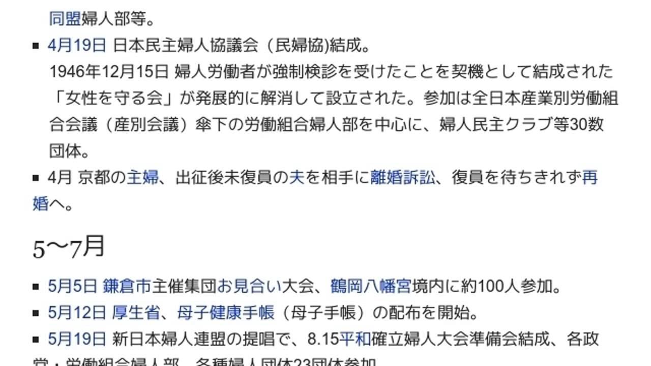 1948年の日本の女性史」とは ウ...