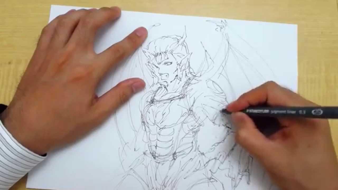 イラストの描き方魔族的な男性キャラstep1ペン Youtube