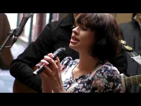 Skinny Lister - Bonny Away (live at Crowngate Shopping Centre, Worcester - 18th April 15)