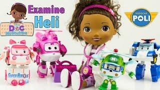 Robocar Poli Heli soigné par Docteur la Peluche Super Wings Doc McStuffins #Jouet #Toys