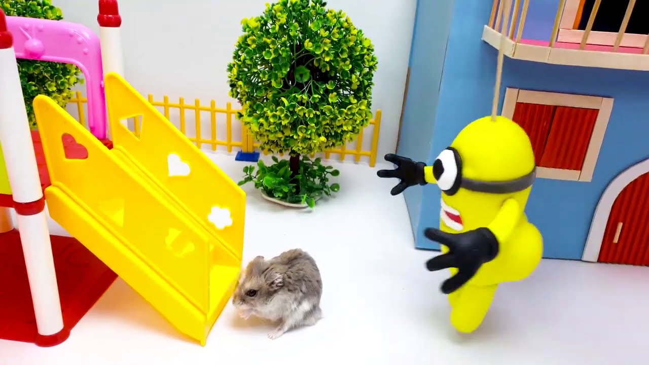 Funny Minion vs Cute Hamster Pets - Hamster obstacle course Maze Cartoon by Life Of Pets Hamham