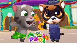 ГОВОРЯЩИЙ ТОМ АКВАПАРК #9 Анджела Хэнк Бен и Джинджер мультик игра видео для детей Talking Tom Pool
