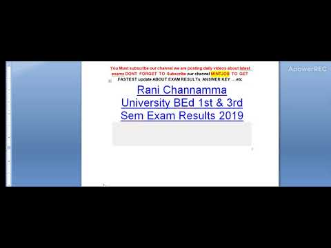 Rani Channamma University BEd 1st & 3rd Sem Exam Results 2019