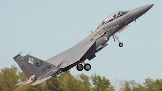 US Air Force MOST FEARED F 15 Take Off from Royal Air Force base