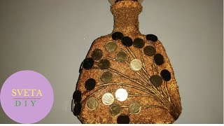 декор бутылки денежная веточка своими руками  Как декорировать украсить бутылку монетами