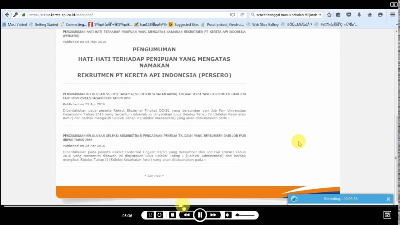 Cara Melamar Kerja Pt Kereta Api Indonesia Persero Lewat Website