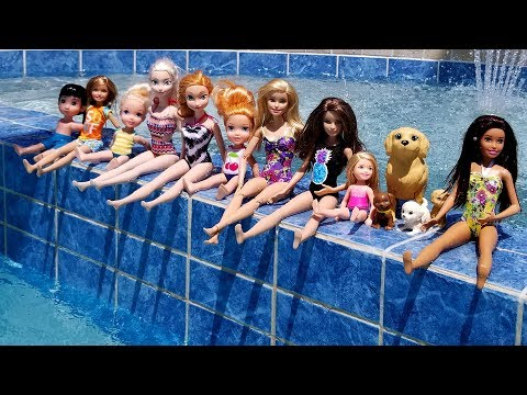 POOL ! Elsa and Anna toddlers  Barbie  boat ride  floaties  swim  water fun  splash
